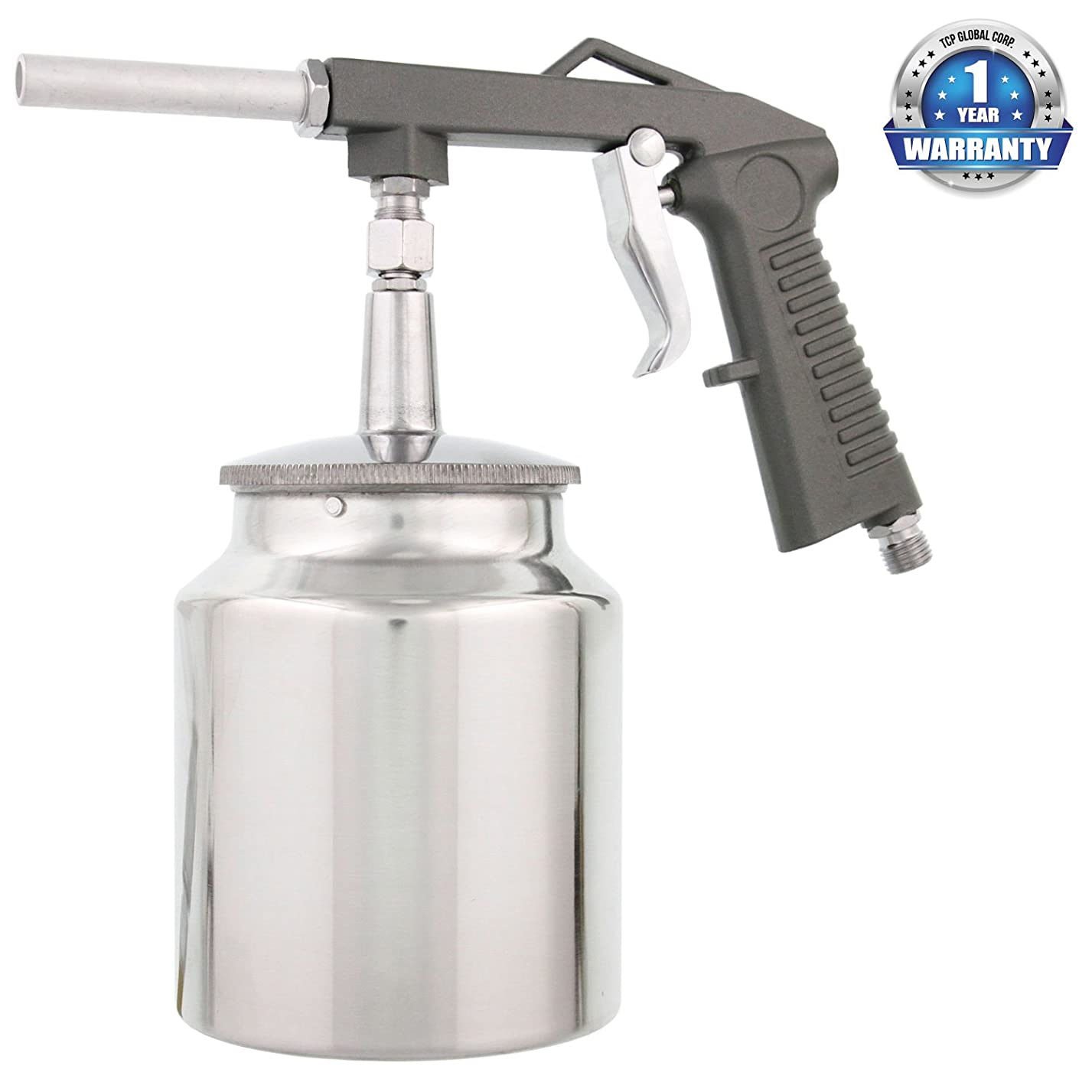 TCP Global Air Undercoating Spray Gun with Suction Feed Cup - Apply Sprayable Truck Bed Liner Coating, Rubberized Undercoat, Rust Proofing, Chip Guard Paint - Pneumatic Automotive Application Sprayer mi15248811