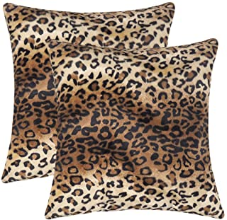 CARRIE HOME Soft Plush Leopard Print Faux Fur Decorative Throw Pillow Covers for Home..