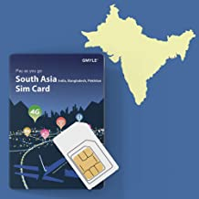 GMYLE India, Bangladesh and Pakistan Prepaid SIM Card, 5GB 14 Days South Asia 3 Countries 4G LTE 3G Travel Data, Top up Anytime and Anywhere
