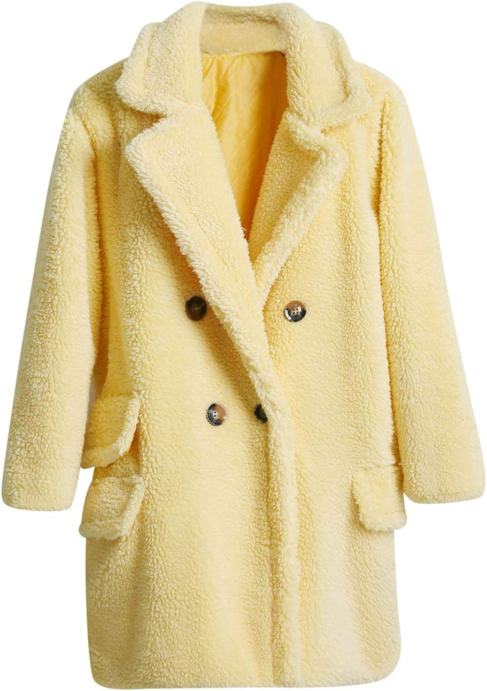 Smileyth Women's Thick 2021 Solid Overcoat Max 72% OFF Lapel Double Long B Sleeve