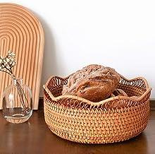 MAHFEI Round Woven Basket Bread Basket, Natural Rattan Fruit Basket Serving Basket Fruits Bowl Storage Tray Container Stor...
