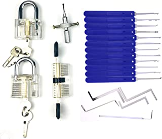 Moli Locksmith Lock Picking Practice Set,3pcs Transparent Lock with 17pcs Lock Pick Tool,Blade Tool,Training Set for Beginner