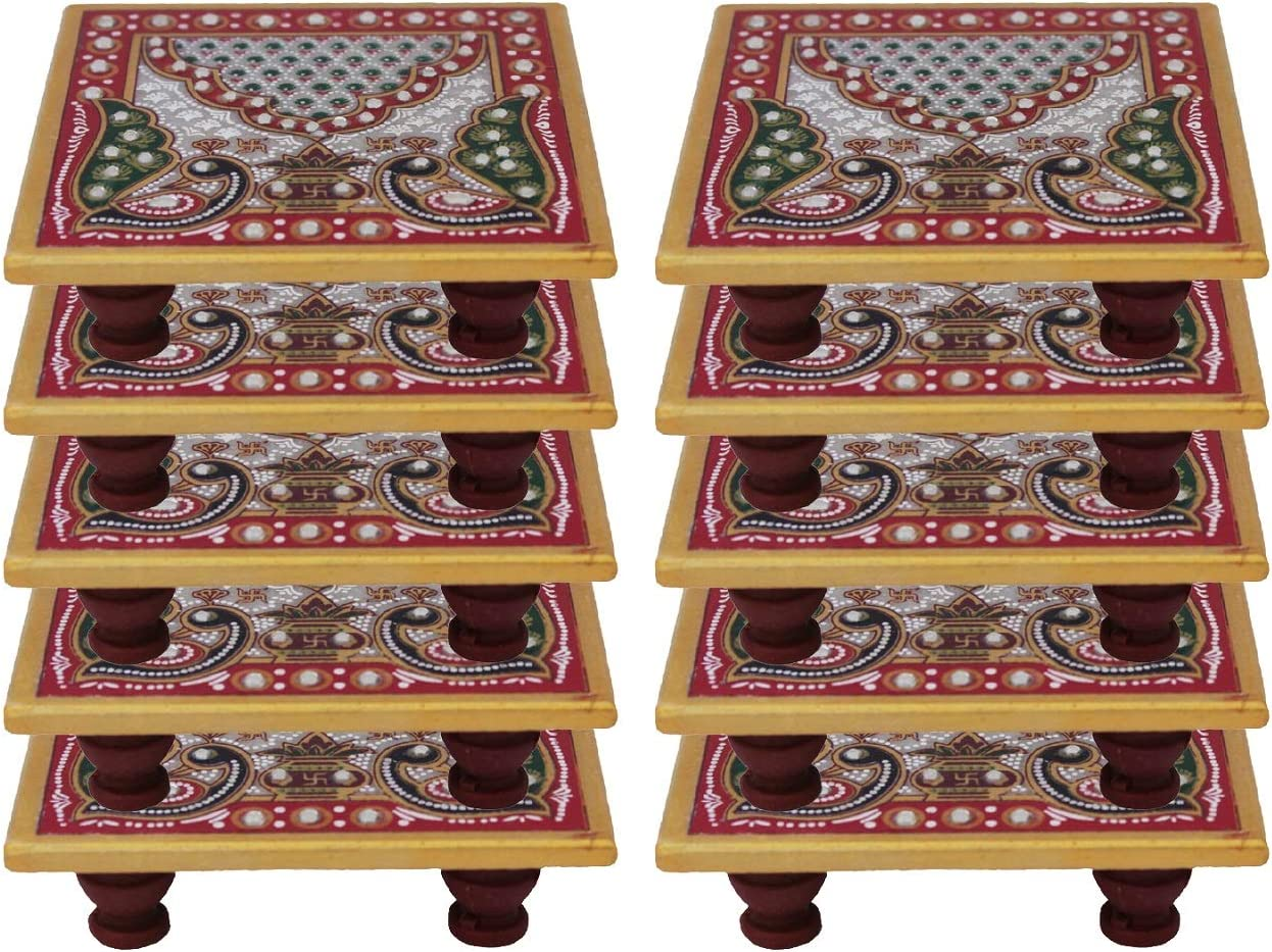 Crafticia 保証 Marble Chowki Set of 10 with for Design Peacock 返品不可 Aasan