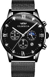 OLMECA Men's Watches Luxury Sports Casual Quartz Analog Waterproof Wrist Watch Genuine Leather Strap Black Color 833