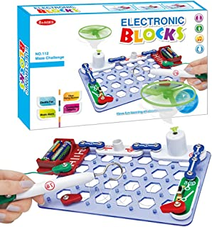Pusiti Kids Electric Circuits Toys Maze Challenge Flying Saucer DIY 16 Parts Electronic Blocks STEM Toys Electronics Educational Kit for Children Learning Toys Circuit Kit