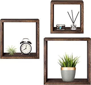 Mkono Wall Mounted Cube Display Shelf Square Floating Shelves Rustic Shadow Wall Boxes Decorative Storage Organizer for Home Office Coffee Shop, Set of 3, Brown
