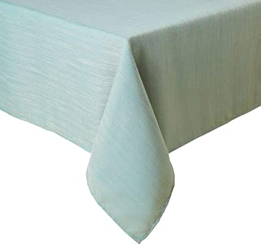 Town & Country Living Harper Solid Textured Fabric Tablecloth, Water and Stain Resistant, Tablecloth-60x144, Sage Brush