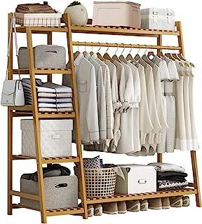 Portant Penderie à Vêtements en Bambou, Penderie Bois, 4 en 1 Porte-Manteau Vêtements Tringle Rangement 6 étagères, Portan...