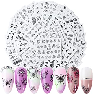 Nail Decals for Women Nails Beauty 40 Sheets Nail Tattoo Stickers Self-adhesive Water Transfer Black Flower Lace Butterfly Nail Art Stickers for Manicure Decorations of Fingernails and Toenails