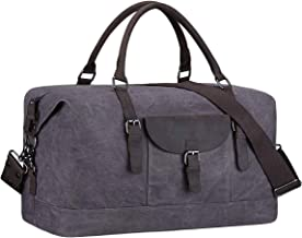 S-Zone Genuine Leather Oversized Travel Duffel Tote Bag (Grey)