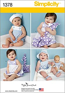 Simplicity 1378 Doll and Baby Clothes with Stuffed Animal Sewing Pattern, 15'' Dolls and 1-18 Month Babies