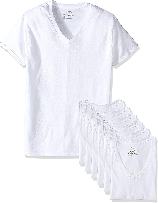Hanes Mens Tagless ComfortSoft Tall V-Neck Undershirt 7-Pack