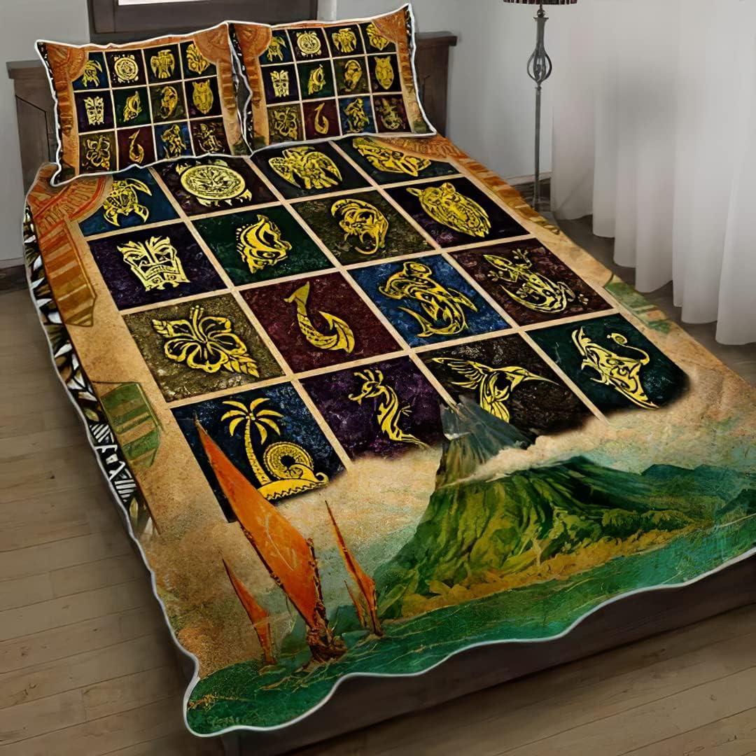 OFFer Strength Polynesian Symbols Quilt Max 74% OFF Bed Result Bedding Set Sets 3
