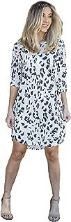 Women's 3/4 Sleeve Round Neck Leopard Print Dress