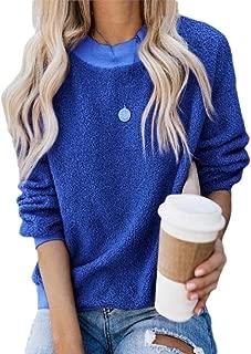 Women Long Sleeve Round Neck Sweatshirt Fuzzy Fleece Pullover Loose Tunic Shirts Blouse Tops
