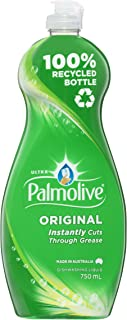 Palmolive Ultra Strength Concentrate Dishwashing Liquid 750mL, Original, Tough on Grease, Recyclable Bottle, Made in Austr...