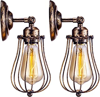 Industrial Wall Light 2 Pack, Licperron E26 Base Vintage Antique Rust Color Wire Cage Wall Sconce for Porch Bedside Headboard Bedroom Farmhouse Garage Barn Door
