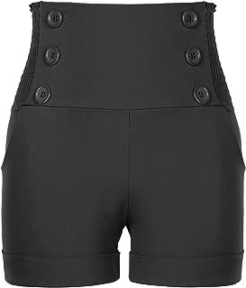 Womens High Waisted Front Button Retro Vintage Elastic Sailor Pants