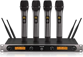 4-Channel Wireless Microphone System, TONOR UHF Cordless 4 Handheld Mics, All Metal Build, Home Karaoke KTV Set, Ideal for Party, Church, Weddings, Stage, DJ, Outdoor Events, 200ft (TW-820 Plus)
