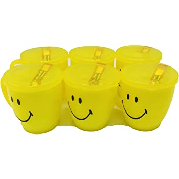 Kids Trends Smiley Mugs with Lid for,Return Gifts for Kids Birthday Party (Pack of 6)