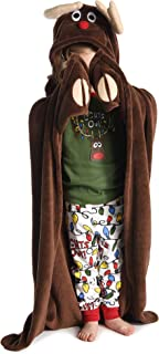 Lights Out! Reindeer Childrens Hooded Animal Critter Blankets by LazyOne | Childrens Dress Up Large Travel Blanket (ONE Size)