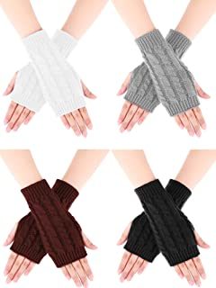 Bememo 4 Pairs Women Long Fingerless Gloves Winter Mitten Crochet Arm Gloves Stretchy Knit Arm Warmers with Thumb Hole
