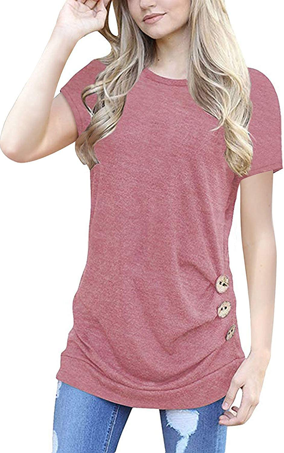 MOLERANI Ranking TOP5 Women's Casual Short All items in the store Sleeve Round T Tunic Neck Loose Sh
