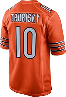 FAMWSY Men's_Women's_Youth_Mitchell_Trubisky_#10_Orange_Alternate_Sportswears_Football_Tracksuits_Jersey