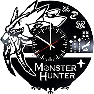 OlhaArtShop Monster Hunter Video Game Vinyl Wall Clock, Action RPG Vinyl Record Handmade Art Decor for Home Room Kitchen, Vintage Original Gift for Any Occasion, Party Supplies Decoration