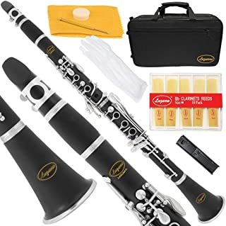 Lazarro 150-BK-L B-Flat Bb Clarinet Black, Silver Keys with Case, 11 Reeds, Care Kit and Many Extras