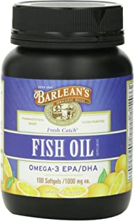Barlean's Organic Oils Fresh Catch Fish Oil, 100 Softgels /1000 mg, Orange