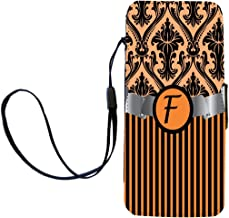 """Rikki Knight Letter""""F"""" Initial Orange Damask and Stripes Monogrammed Flip Wallet iPhoneCase with Magnetic Flap for iPhone 5/5s - Orange"""