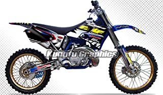 Kungfu Graphics Custom Decal Kit for Yamaha YZ125 YZ250 YZ 125 YZ 250 1996 1997 1998 1999 2000 2001, Black White,style 004