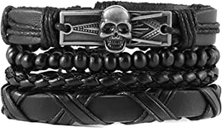 HZMAN Masonic Skull Wrap Bracelets Men Women, Hemp Cords Wood Beads Punk Bike Tribal Bracelets, Black Leather Wristbands