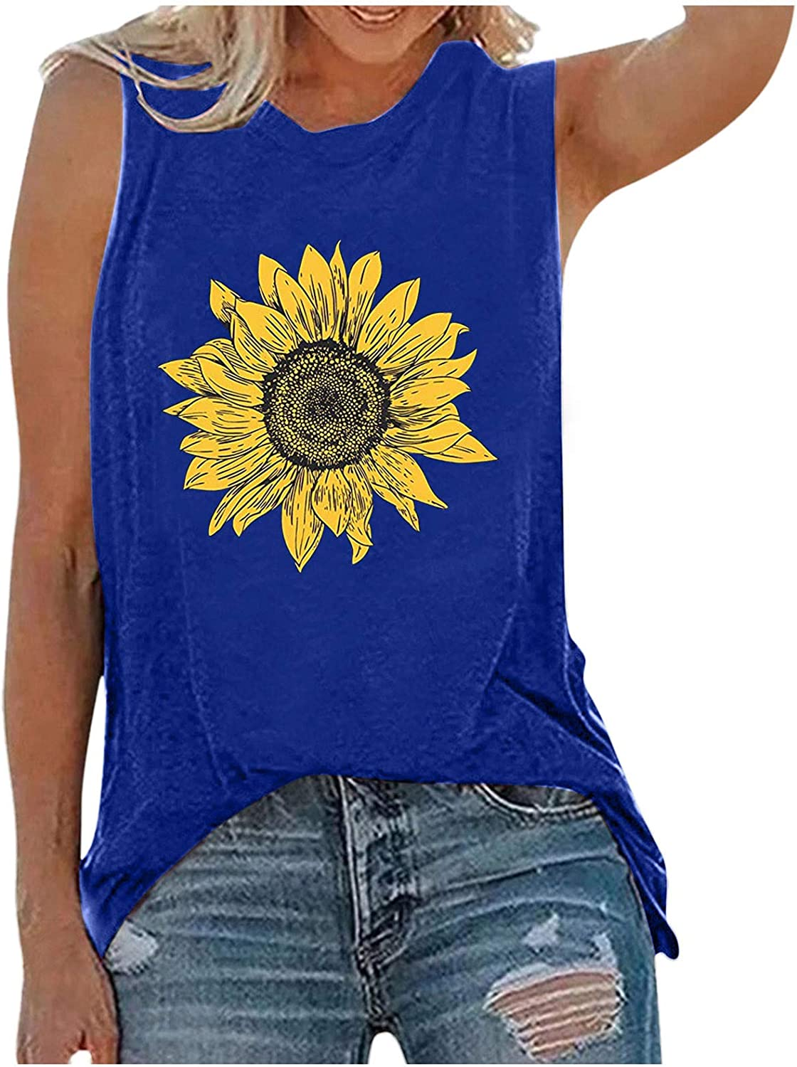 Forwelly Sunflower Graphic Shirt for Women Summer Casual Sleeveless O Neck Tank Top Vest Tunic T Shirt