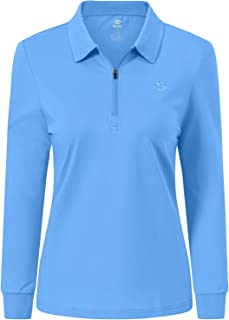 MoFiz Women's Long Sleeve Polo Shirts Cotton Golf Tops Casual Sports Polo T-Shirt with 1/4 Zipper