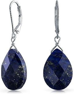 Faceted Briolette Teardrop Pear Shaped Drop Dangle Leverback Earrings For Women 925 Sterling Silver More Gemstones