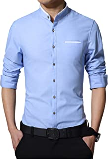 2018 New Men Casual Shirt Fashion Stand Collar Mens Dress Shirts Slim Fit Long-Sleeve MC240