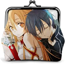 DwayneDennis Sword Art Online SAO Kirigaya Kazuto Asuna New Leather Simple Coin Purse for Men and Women Small Personality Purse Short Mini Cute Multi-Function Coin Purse 4.5 X 4.1 in