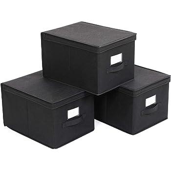 SONGMICS Juego de 3 Cajas Plegables de Alcon Tapas, Cubos de Tela con Portaetiquetas, 40 x 30 x 25 cm, Negro RFB03H: Amazon.es: Hogar