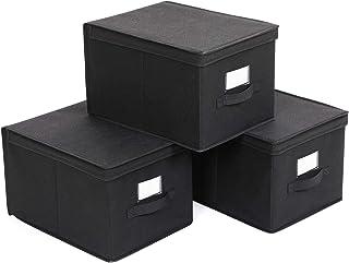 SONGMICSJuegode 3CajasPlegablesde AlconTapas,Cubos deTela conPortaetiquetas, 40 x 30 x 25 cm,NegroRFB03H