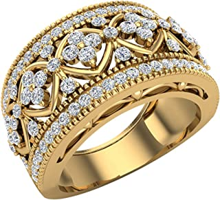 0.95 ct tw Cocktail Diamond Ring Filigree Style 18K Gold (G,VS)