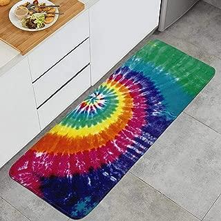 Tie Dye Wallpaper Rainbow Anti Fatigue Kitchen Mat Chic Carpets Non-Slip Kitchen Rug