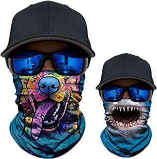 WWPAI 2 Pack - 3D Animal Neck Gaiter Shield Scarf Bandana Face Mask Seamless UV Protection for Motorcycle Cycling Riding Running Fishing Hiking Camping Conoeing Kayaking