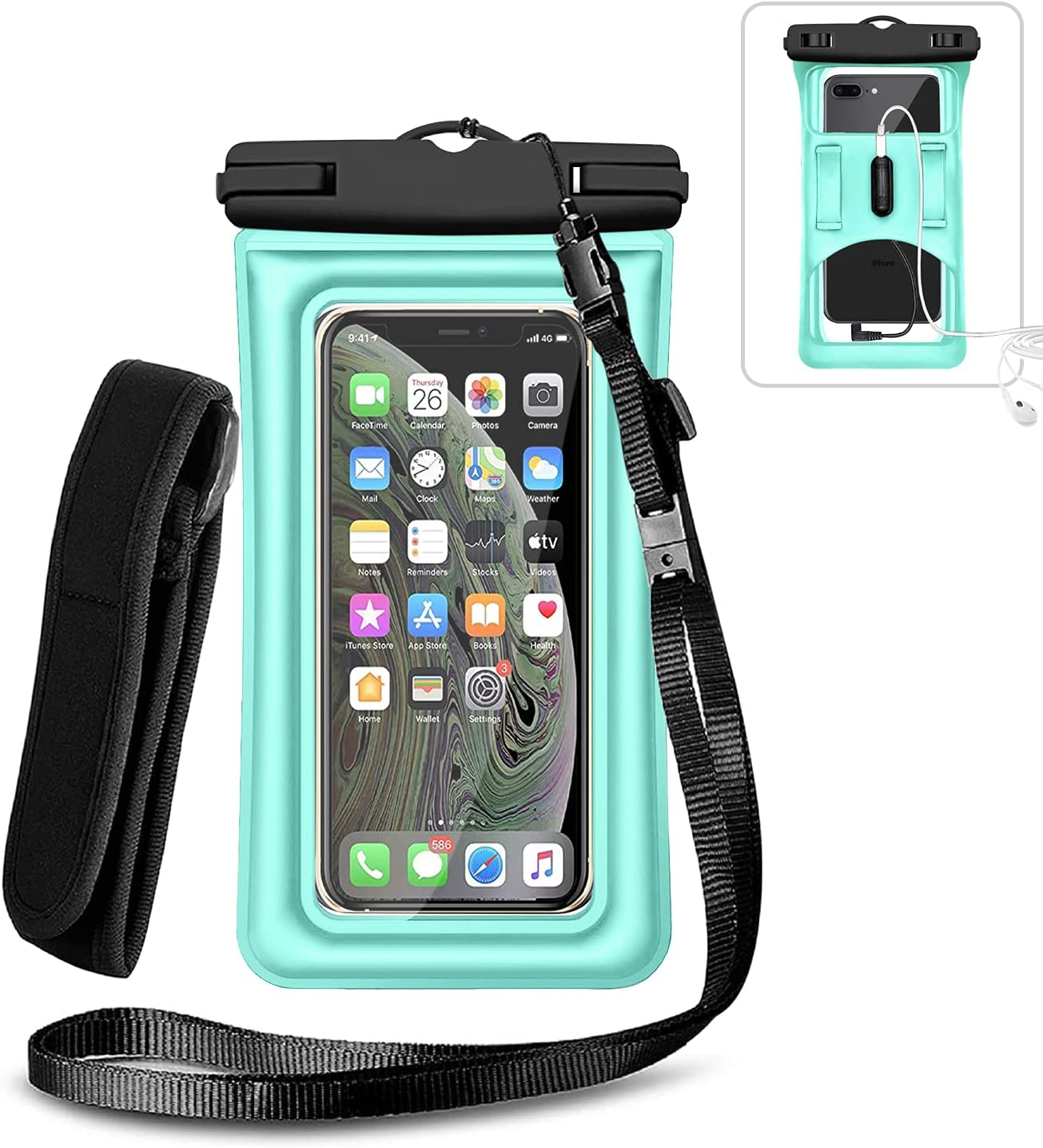 Weuiean Floating Waterproof Phone Case, Waterproof Phone Bag with Armband Jack, Adjustable Lanyard Phone Dry Bag for iPhone 12/11/SE/XS/XR/8/7/6Plus, Samsung S21/20/10/10+ up to 6.5 inch - Mint Green