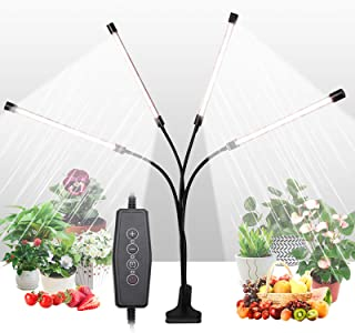 Grow Light for Indoor Plants, Upgraded 4 Heads 168 LEDs Full Spectrum Sunlike White Plant Lights with 4/8/12H Timer, 5 Dim...
