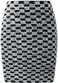 FASHION-Ubiquity Mini Falda de Cuadros Blancos y Negros con Borla Brillante para Mujer, Estilo Inglaterra