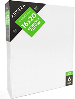 """ARTEZA 16x20"""" Stretched White Blank Canvas, Bulk Pack of 6, Primed, 100% Cotton for Painting, Acrylic Pouring, Oil Paint & Wet Art Media, Canvases for Professional Artist, Hobby Painters"""