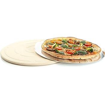 Pizzastein Set rund Backstein /&Pizzaschaufel Halter Steinoffenpizza aus Holz