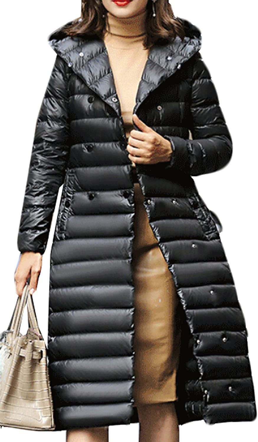 GAGA Womens Winter Hooded Hooded Fur Puffer Jacket